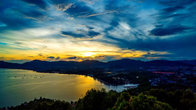 Sunset over Khaokad 360 View point Phuket Thailand
