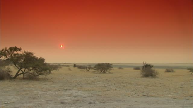 T/L WS Sunset over Makgadigadi pan, Makgadikgadi Pans National Park, Botswana