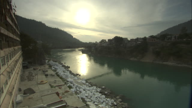 Sunset over river Ganges, Rishikesh, India Available in HD.