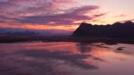 Sunset over the south coast of Iceland near Jokulsarlon