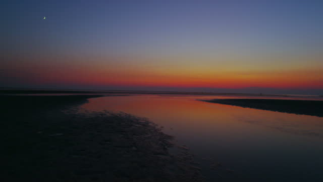 sunset over the tidal flats of Wellfleet Cape Cod