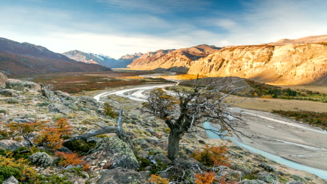 Sunset over the valley in Patagonia, Argentina