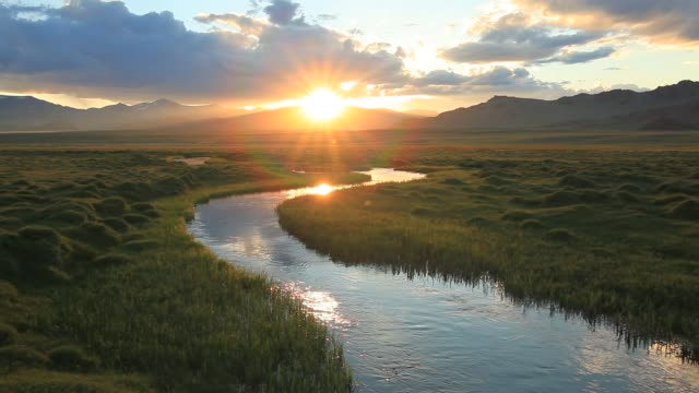 Sunset reflection in the river, Mongolia