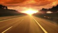 Sonnenuntergang Straße HD