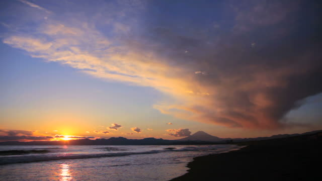 Sunset scene on the sea and Mt fuji in Japan.