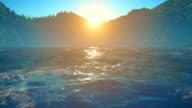 Sunset / sunrise over sea and mountains