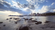Sunset time lapse in the Poniente Beach of Benidorm