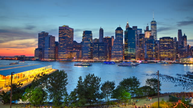 HDR sunset time lapse New York City downtown Manhattan