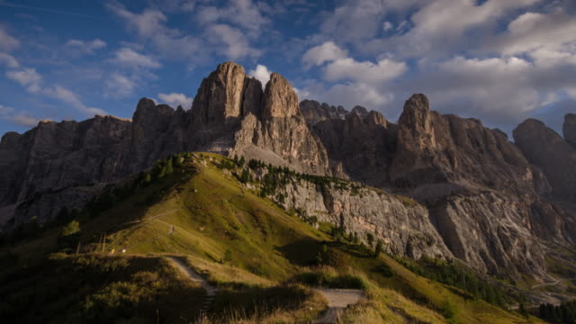 Sunset Time Lapse of Gardena pass , passo gardena in dolomites south tyrol Italy alps