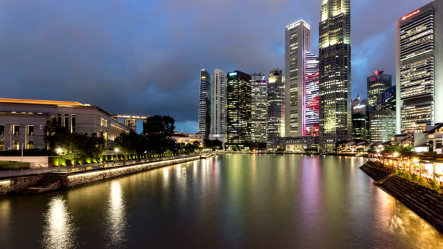 Sunset time lapse over Singapore river and the business district
