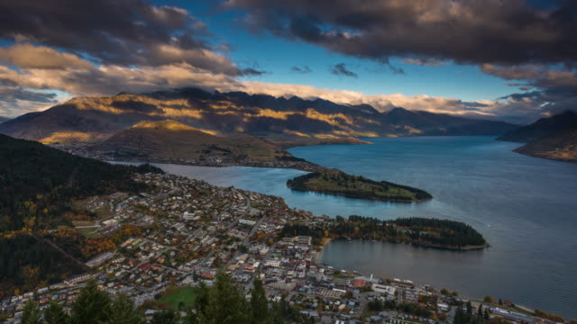 New Zealand Time Image: Sunset Time Lapse Queenstown New Zealand Stock Footage