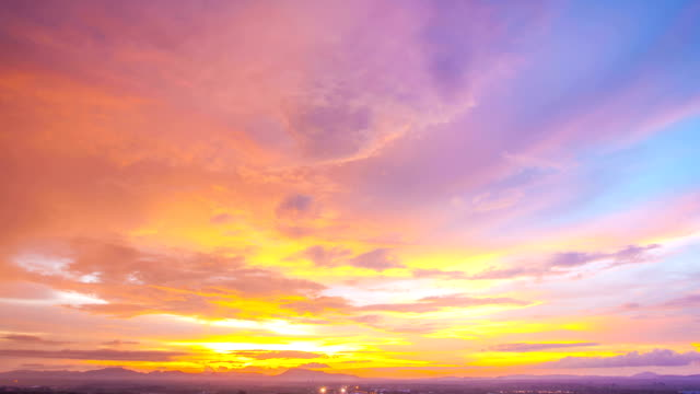 Sunset Timelapse against Cityscape at Trang Thailand