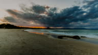 4K Sunset timelapse at Byron Bay Main Beach (wide open), New South Wales, Australia