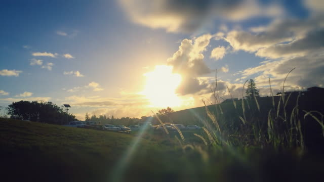 Sunset Time-lapse of a landscape in Ballina, a man walking with a dog, tilt shift effect