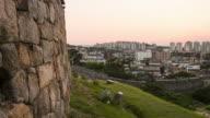 Sunset to night view of the Banhwasurujeong(Korea Treasure 1709) and Hwahongmun gate at the Suwon Hwaseong castle