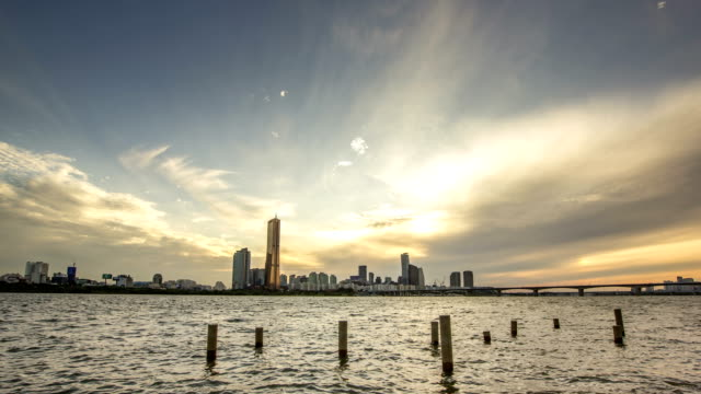 Sunset view of Han River and cityscape of Yeouido in distance
