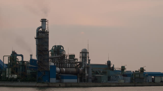 Sunset view of industrial factory at Incheon