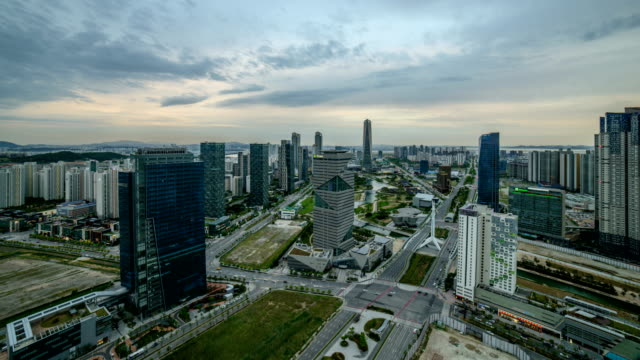 Sunset view of Songdo(International Business District) Central Park and G-Tower