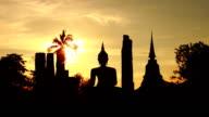 Sunset Wat Mahathat Sukhothai Thailand