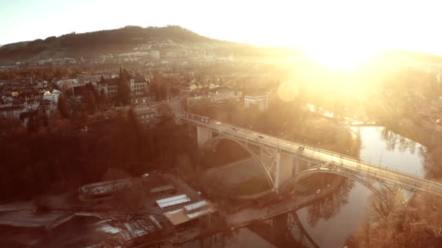 Sunshie over Aare river and Kirchenfeldbruecke Aerial view