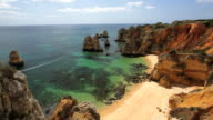 Sunshine on the coastline of Ponta da Piedade, Lagos, Algarve, Portugal, Europe