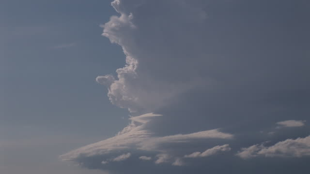 Super cell thunderstorm over open prarie zooms out from close up of clouds, USA