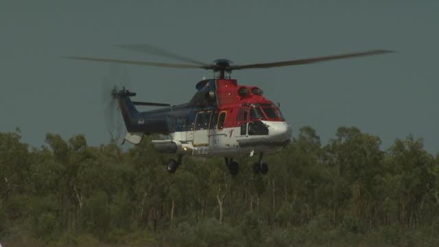 Super Puma helicopter lands at 'Mungalalu - Truscott Airfield', Australia