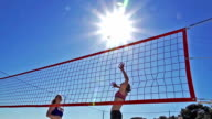 HD Super Slo-MO:Group of Young Women Practicing Beach Volley