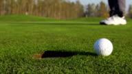 HD-Super Slo – Mo: Schuss von Golf Cart fehlt das Loch