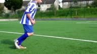 Super Slow Motion, Football, Soccer Player scores amazing Free Kick