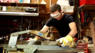 Super Slow Motion HD, Carpenter Cutting wood with Circular Saw
