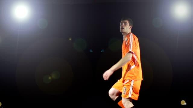 Super Slow Motion HD, Flying Football soccer volley under floodlights