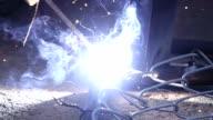 Super Slow Motion HD: Man welding working.