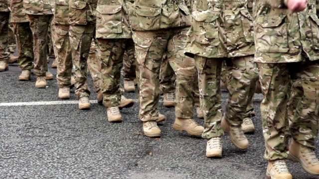 Super Slow Motion HD, Wide shot of Army soldiers Marching