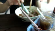 Super Slow motion HD:Thai noodle soup