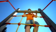 HD Super Slow-Mo: Boy Climbing On A Jungle Gym