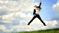 Super Zeitlupe, HD: Geschäftsmann springen mit Faust hoch