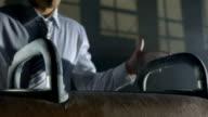 HD Super Slow-Mo: Businessman On The Pommel Horse