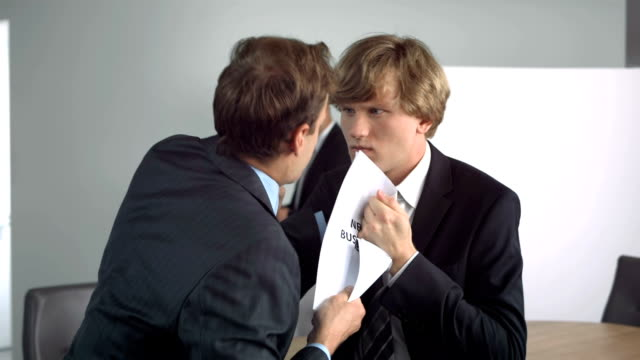 HD Super Slow-Mo: Businessmen Fighting For New Business