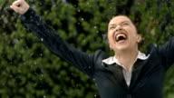 HD Super Slow-Mo: Businesswoman Jumping Of Joy