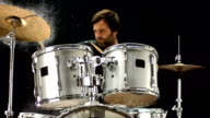 HD Super Slow-Mo: Drummer Playing On Wet Drums