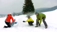 HD Super Slow-Mo: Family Playfully Throwing Snow At Each Other