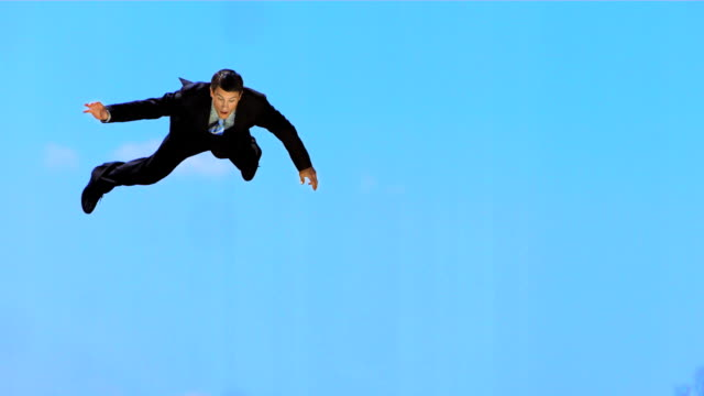 HD Super Slow-Mo: Frightened Businessman Falling