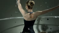 HD Super Slow-Mo: Gymnast Twirling With A Ribbon