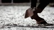 HD Super Slow-motion: Cavallo zoccoli che affondano nella sabbia di tiro