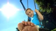 HD Super Slow-Mo: Little Boy Having Fun Swinging