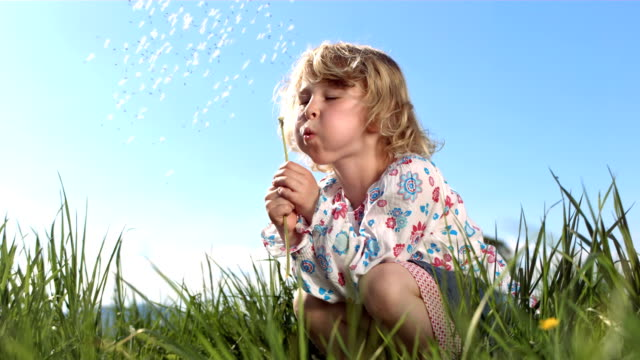 HD Super Slow-Mo: Little Girl Blowing Dandelion