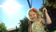 HD Super Slow-Mo: Little Girl Having Fun Swinging