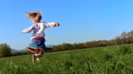 HD Super Slow-Mo: Little Girl Twirling In The Grass