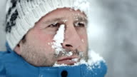 HD Super Slow-Mo: Man's Face Covered With Snow